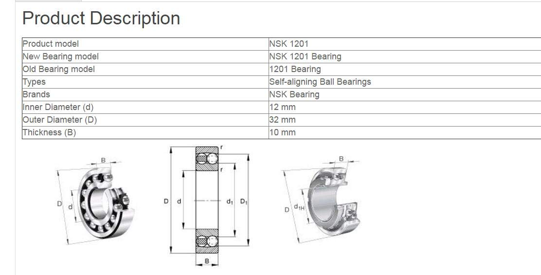 NSK 1201 Self-Aligning Ball Bearings 12x32x10mm: Amazon com