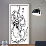 Gzhihine custom made 3d door stickers Octopus Decor Hipster Octopus Tattoo Style Artwork Undersea Creature Monster Cartoon Print Decor White Black For Room Decor 30x79