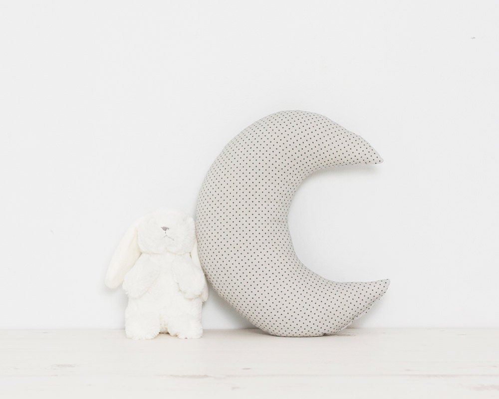 Grey Crescent Moon pillow cushion, baby gift, nursery decor, kid's room or kids teepee playroom decorative moon cushion kid' s room or kids teepee playroom decorative moon cushion