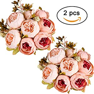 Ogrmar Vintage Artificial Peony Silk Flowers Bouquet for Decoration 114