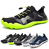Water Shoes for Men Quick-Dry Aqua Sock Outdoor Athletic Sport Shoes for Kayaking,Boating,Hiking,Surfing,Walking (A-Black/Green, 47)