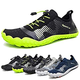 Water Shoes for Men Quick-Dry Aqua Sock Outdoor Athletic Sport Shoes for Kayaking,Boating,Hiking,Surfing,Walking (A-Black/Green, 43)