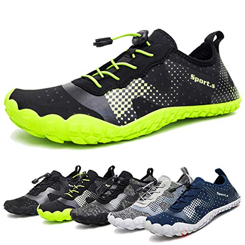 Water Shoes for Men Quick-Dry Aqua Sock Outdoor Athletic Sport Shoes for Kayaking,Boating,Hiking,Surfing,Walking (A-Black/Green, 48)