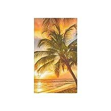 Crystal Emotion Tropical Coconut Palm Tree Ocean Sea Beach Hawaii Seashore Summer Sunset Hand Towel Bath Towels For Bathroom,Outdoor and Travel Use,