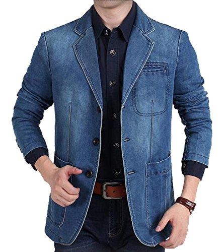 [해외]Jofemuho 남성 캐주얼 비즈니스 워시드 데님 블레이저 정장 재킷 스포츠 코트 / Jofemuho Men Casual Business Washed Denim Blazer Suits Jacket Sports Coat
