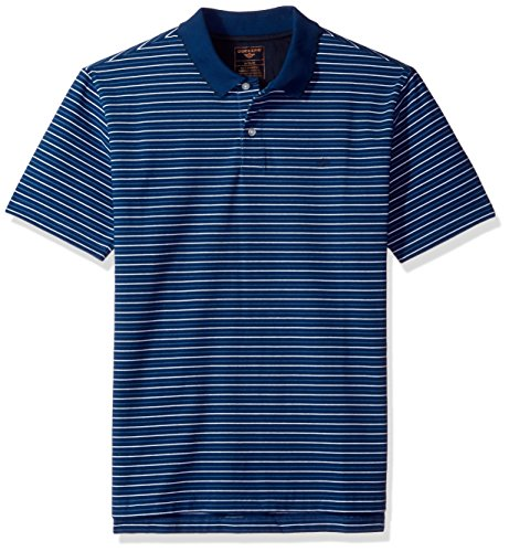 Dockers Men's Performance Polo Short Sleeve With Embroidered Logo, Estate Blue Multi Stripe, S
