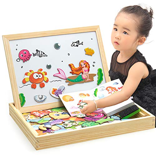 ODDODDY Toys for Girls Boys Kids Children Toddlers Educational Toys Wooden Magnetic Drawing Board Puzzles Games Learning for Kids Age 4 5 6 7 8 9 10 Year Old Gift Idea (Merraid) by ODDODDY