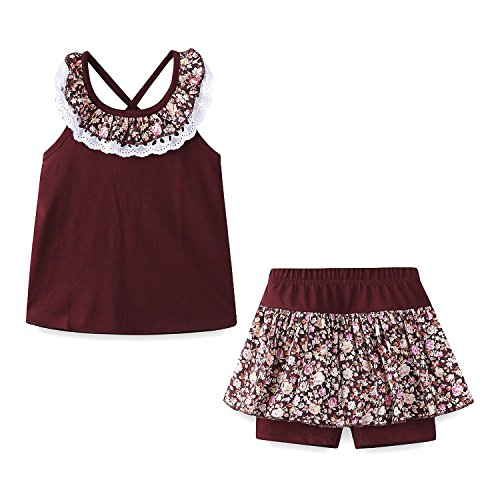 (Mud Kingdom Girls Outfits Holiday Summer Lace Floral Collar Short Sets Size 5)