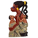NOVICA Cultural Large Wood Wall Sculpture, Brown Grey, Twin Mother'