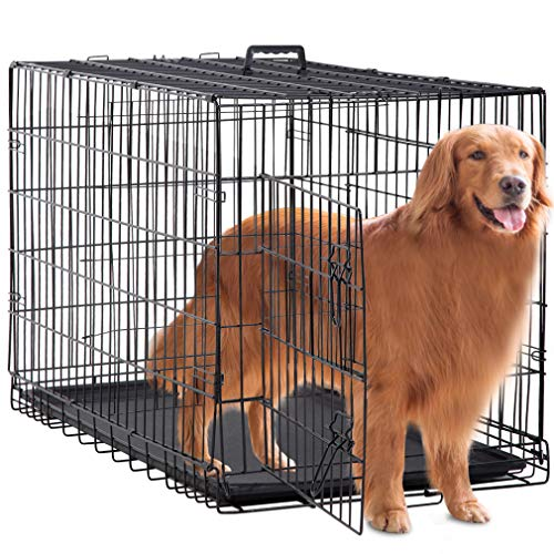 BestPet Large Dog Crate Cage Metal Wire Kennel Double-Door Folding Pet Animal Pet Cage with Plastic Tray and Handle,48'' by BestPet (Image #7)