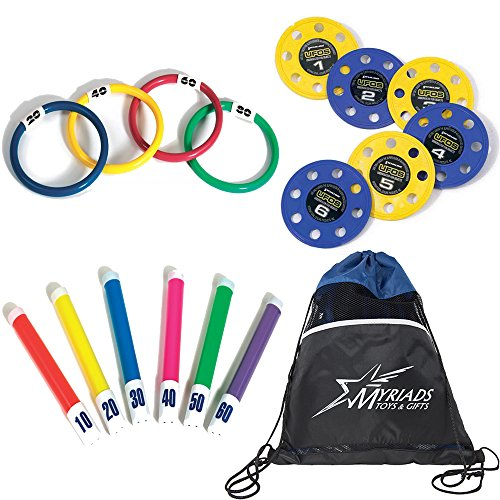 Swimline Underwater Swimming/Diving Pool Toy Set: Rings (4 Rings), Diving Sticks (6 Sticks), UFO Underwater Fun Objects (6 UFOs) with with a Drawstring Bag