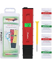 PH Meter, Preciva Digital PH Meter with Large Backlit LCD Screen 0,00-14,00 PH Measuring Range Water Tester for Aquarium, Pool, Laboratory, Urine, etc with FOUR Free Calibration Powder, ONE Screwdriver and One Plastic Box(4-LR44 Batteries Included)