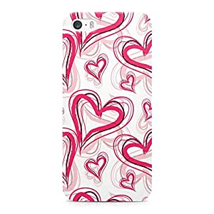 iPhone 5s Case Hand Drawn Heart Pattern Durable Light Weight Vibrant Colors Wrap around iPhone 5 Case
