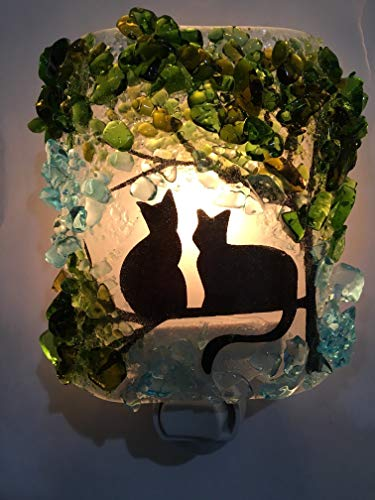 Fused Glass Night Light - Kitty Cat Twins Black Silhouette Tree Recycled Glass Artisan Night Light Nightlight Unique Eco Gift