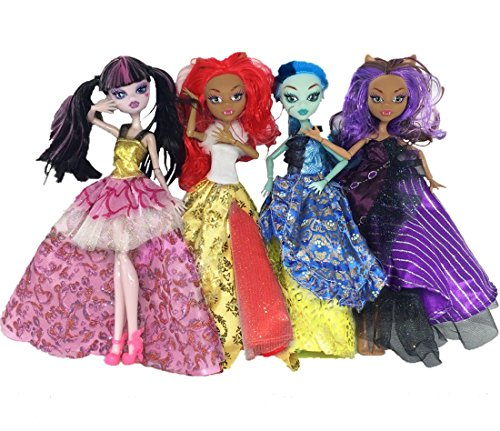 Kids Gift 4 Sets Different Dance Party Big Princess Dress for Monster High Doll (Monster High Dresses)