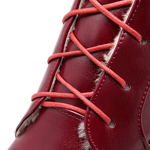 AgooLar Women's Solid High-Heels Round Closed Toe PU Lace-up Boots Claret dfeoHx3d