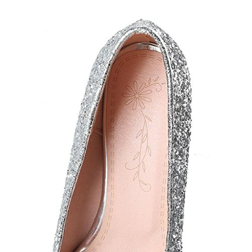 Pointed Middle 7cm Mouth Stage Head Thin Bridesmaid Heels Heel Single Shallow Female Rubber Shoes Shoes Sole Spring Summer Shoes Heel Sequins Silver AwqfwUP