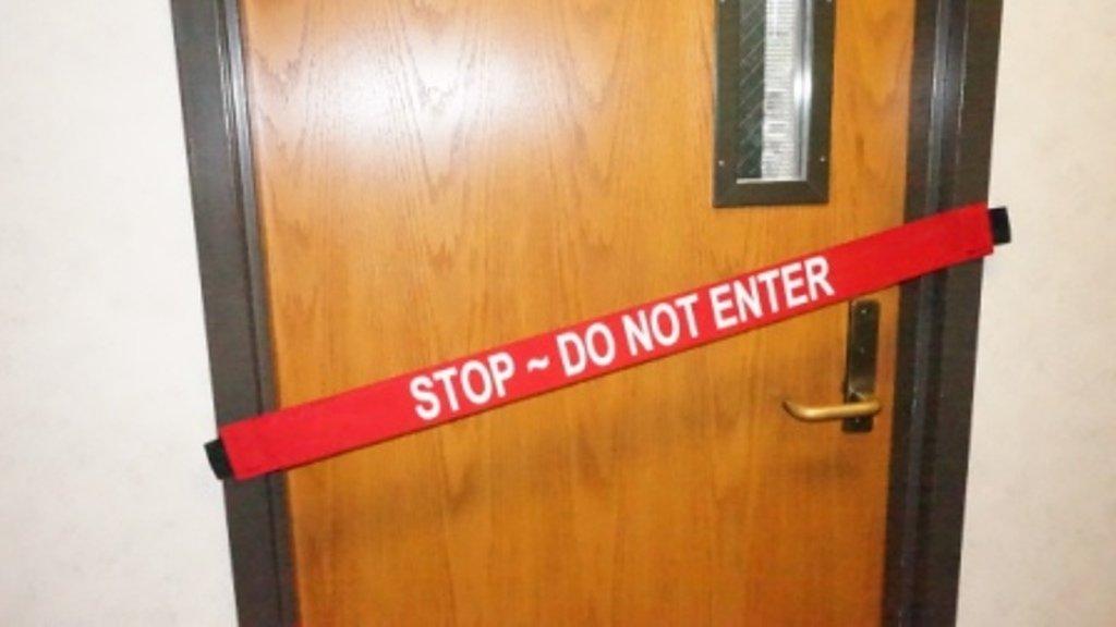 Stop - DO NOT Enter - Magnetic Door Barrier - Fits up to a 51'' Wide Door - 2 Pack