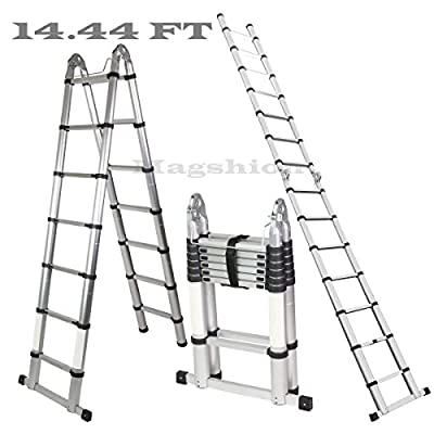 Magshion A-Frame 14.44 FT Aluminum Ladder Telescopic Extension Tall Multi Purpose EN131