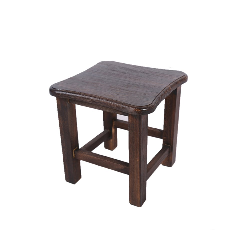 LCMJ Step Stool Wood Small Stool 30cm High Square Household Practical Bearing Weight 150KG Dark Color 4.4LBS 2KG