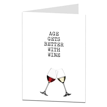 Funny Happy Birthday Card Age Wine Drinker Alcohol Theme For Him Her Mum Dad