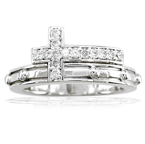 - Diamond Christian Cross Rosary Ring in 14K White Gold size 6