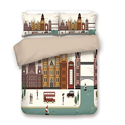 - iPrint Duvet Cover Set,Back of Khaki,London,Attractive Travel Scenery Famous City England Big Ben Telephone Booth Westminster,Multicolor,Decorative 3 Pcs Bedding Set by 2 Pillow Shams,Full