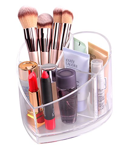Heart Vanity - DIY Acrylic Makeup Brush Holder Desk Organizer Cosmetics Organizer Storage Cup for Bathroom /Lipstick/Jewelery /Pen/Nail/Namecard/Beauty Products,Vanity Makeup Organizer (Clear +Heart Shape) (medium)