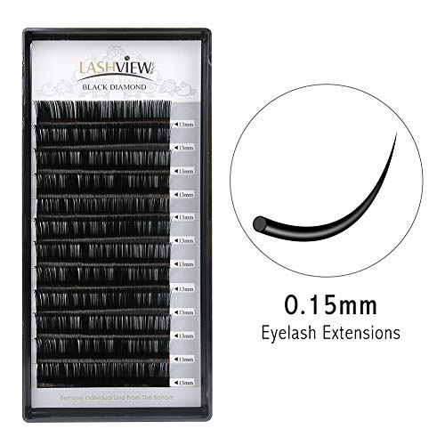 LASHVIEW Mink Lashes 0.15 Thickness D Curl Premium Soft Application-friendly Eyelash Extension 13mm Eyelash Extensions Individual Natural Semi Permanent EyeLashes (Salon Perfect Use)
