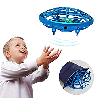 UFO Drone Hand Operated Drone for Kids Children Toys Mini UFO Drone Flying Ball Toy Gifts for Boys and Girls Drone 5 6 7 8 9 10 Years Old Kids Indoor Drone with Gift Bag (Blue)