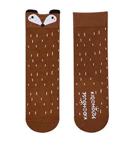 Purforlove Baby Girls Boys Socks Cartoon Animal Knee High Cotton Socks with Non Skid Rubbers 6 Pairs (S, A cat Fox) by Purforlove (Image #3)