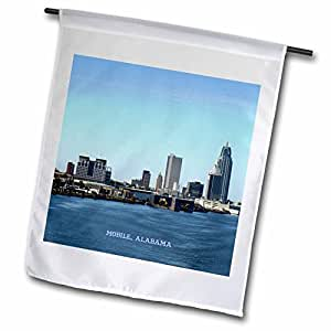 3dRose fl_61676_1 Mobile Alabama Skyline Garden Flag, 12 by 18-Inch