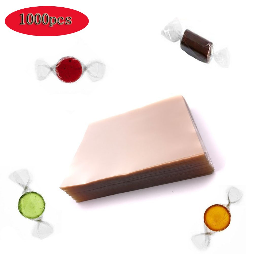 PalkSky Clear Caramel-Candy Wrappers/Chocolate Wrappers - (1000 Square Sheets) Natural Wrappers Non-stick Cellophane 5x5 Inches
