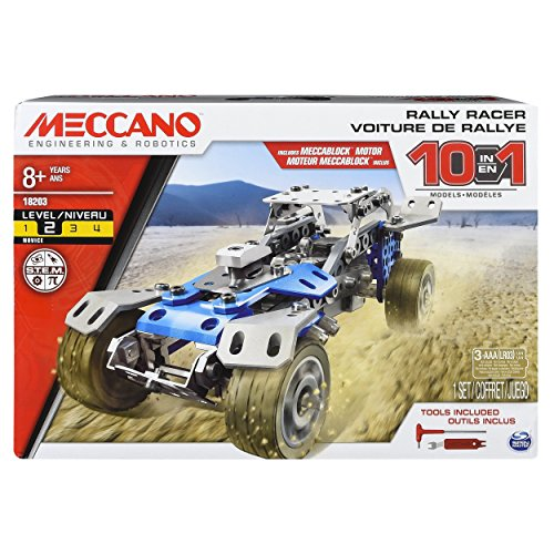 Erector Toys - Meccano Erector, 10 in 1 Rally Racer Model Vehicle Building Kit Ages 8 up, STEM Construction Education Toy