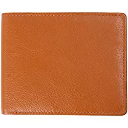 Access Denied Mens RFID Blocking Wallet Genuine Leather Bifold Slim Wing (Coffee)