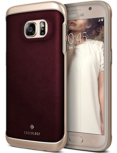 ology [Envoy Series] Slim Premium PU Leather Dual Layer Protective Corner Cushion Design for Samsung Galaxy S7 (2016) - Leather Cherry Oak (Grade Leather Cover)