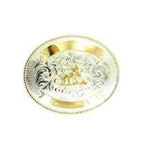 Crumrine Western Belt Buckle Cutting Horse Oval Gold Silver C1036004