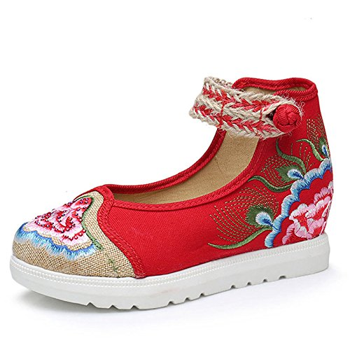 Gift Red Women Shoes Dance Embroidered wedge Art Products ApFrqA0
