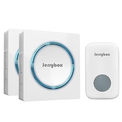 Jerrybox Kit de Timbre Inalámbrico Doble, 1 Pulsador y 2 Receptores, Blanco, Gran Alcance de 300m, para Exterior| Avisador para Puerta Impermeable y ...