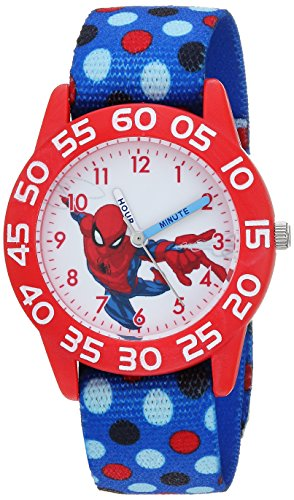 Marvel Boy's 'Spider-Man' Quartz Plastic and Nylon Casual Watch, Color:Blue (Model: WMA000177)