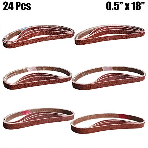 "24 Pcs 1/2"" x 18"" Alumina Sanding Belts, 4 Each of 60/80/120/150/240/400 Grits, Belt Sander Tool for Woodworking, Metal Polishing"