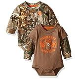 Carhartt Baby Boys' 2 Pack Longsleeve Bodysuit, Realtree Xtra/Brown, 6 Months
