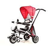 FoxHunter 4 in 1 Smart Kids Tricycle 3 Wheels Multi Position Children Baby Ride On Trike Bike Tricycle Bicycle Outdoor Stroller T02 Red