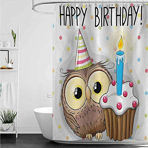 home1love Hotel Style Shower Curtain,Kids Birthday Baby Owl Bird Party Cupcake Tasty Creamy Cake on Colorful Polka Dots Backdrop,Fashionable Pattern,W48x72L,Multicolor]()