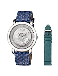 GV2 by Gevril Women's 'Catania' Swiss Quartz Stainless Steel and Leather Casual Watch, Color:Green (Model: 3603)