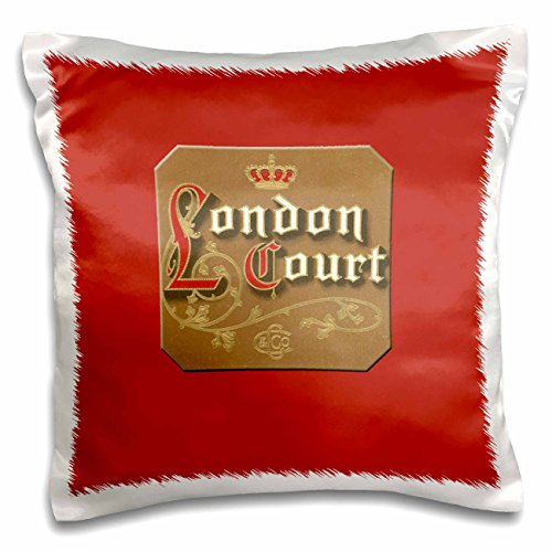 BLN Vintage Cigar and Cigarette Labels - London Court Cigar Label on a Bright Red Background - 16x16 inch Pillow Case (pc_170115_1) (Court Cigars)
