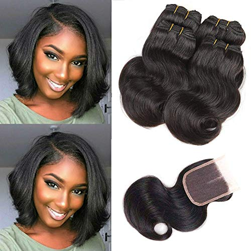 - Brazilian Virgin Human Hair Body Wave 4 Bundles with Closure 100% Human Hair Extension with 4x4 Top Lace Closure Middle Part with Baby Hair 50g/ Bundle Natural Black (8 8 8 8 Closure8, Body Wave)