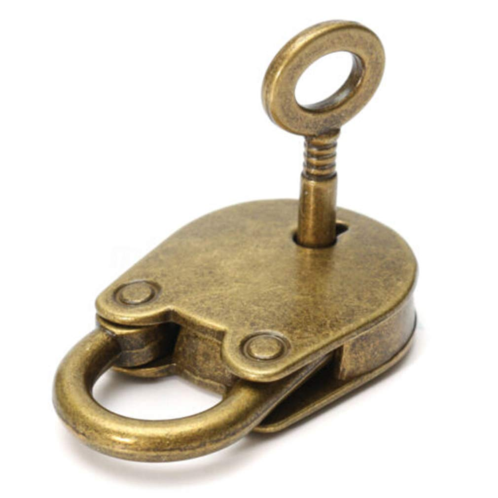 Dolland Metal Old Vintage Style Mini Padlock with Keys Lock Copper Color,Antique Copper