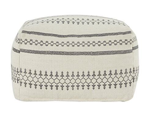 Flamant Joline 23.5'' Square Pouf,White by Flamant