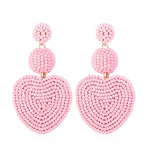 Statement Bead Dangle Earrings for Women Girls Handmade Bohemian Heart Round Drop Lightweight Fashion Wedding Studs Ear Jewelry Accessory Present for Bride Bridesmaid with Gushion Gift Box GUE145 Pink